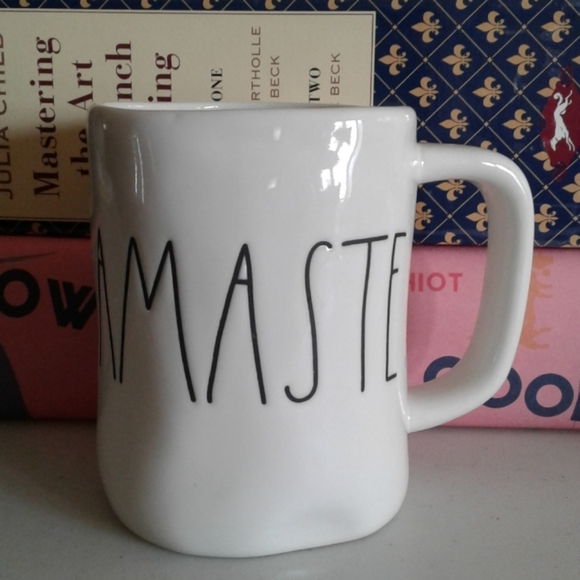 Rae Dunn Namaste script coffee tea mug.